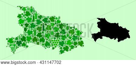 Vector Map Of Hubei Province. Collage Of Green Grape Leaves, Wine Bottles. Map Of Hubei Province Mos