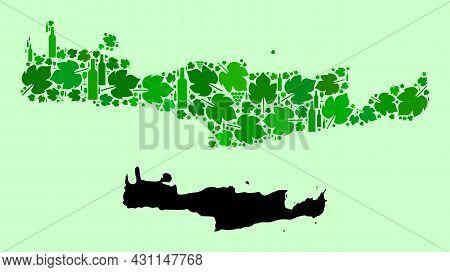 Vector Map Of Crete Island. Mosaic Of Green Grape Leaves, Wine Bottles. Map Of Crete Island Mosaic D