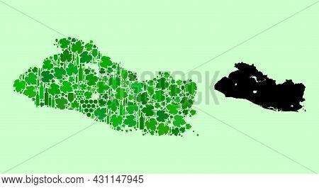 Vector Map Of El Salvador. Combination Of Green Grapes, Wine Bottles. Map Of El Salvador Mosaic Desi
