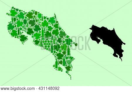 Vector Map Of Costa Rica. Composition Of Green Grape Leaves, Wine Bottles. Map Of Costa Rica Collage