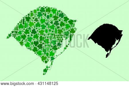 Vector Map Of Rio Grande Do Sul State. Mosaic Of Green Grape Leaves, Wine Bottles. Map Of Rio Grande