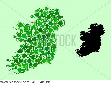Vector Map Of Ireland Island. Composition Of Green Grapes, Wine Bottles. Map Of Ireland Island Mosai
