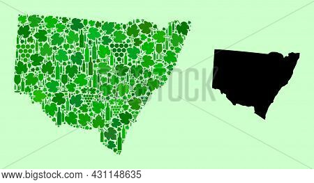 Vector Map Of New South Wales. Combination Of Green Grape Leaves, Wine Bottles. Map Of New South Wal