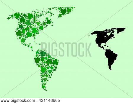 Vector Map Of South And North America. Mosaic Of Green Grape Leaves, Wine Bottles. Map Of South And