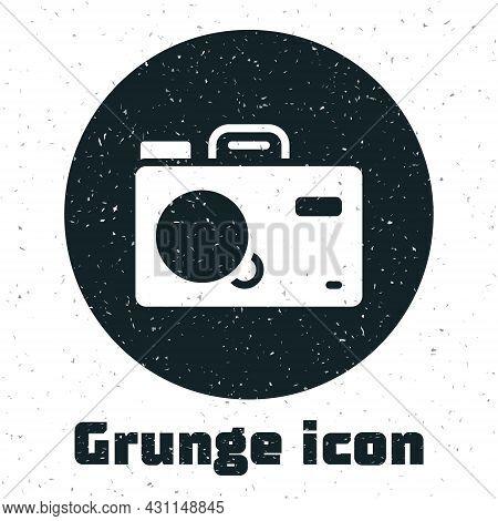 Grunge Photo Camera Icon Isolated On White Background. Foto Camera. Digital Photography. Monochrome