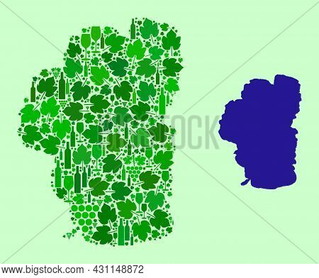 Vector Map Of Tahoe Lake. Collage Of Green Grape Leaves, Wine Bottles. Map Of Tahoe Lake Collage Des