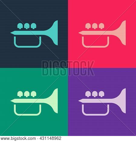 Pop Art Trumpet Icon Isolated On Color Background. Musical Instrument Trumpet. Vector