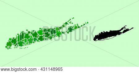 Vector Map Of Long Island. Mosaic Of Green Grapes, Wine Bottles. Map Of Long Island Mosaic Designed