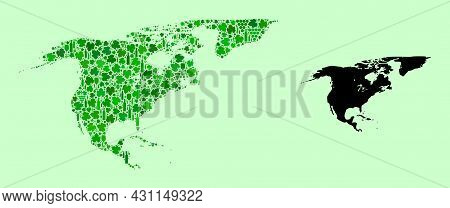 Vector Map Of North America And Greenland. Mosaic Of Green Grape Leaves, Wine Bottles. Map Of North