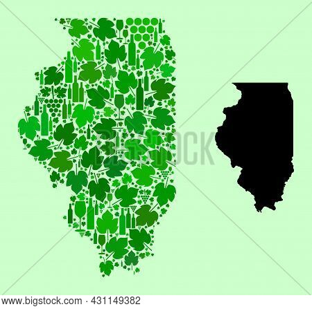 Vector Map Of Illinois State. Collage Of Green Grapes, Wine Bottles. Map Of Illinois State Collage F