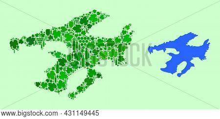 Vector Map Of Great Bear Lake. Collage Of Green Grape Leaves, Wine Bottles. Map Of Great Bear Lake C
