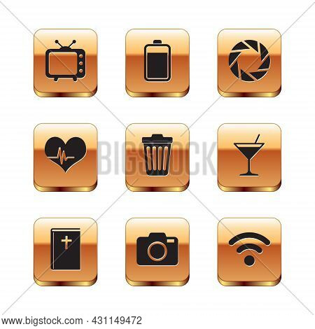 Set Television Tv, Holy Bible Book, Photo Camera, Trash Can, Heart Rate And Camera Shutter Icon. Vec