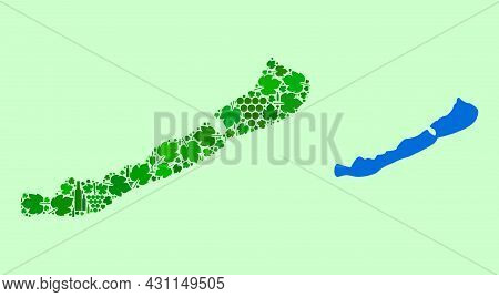 Vector Map Of Balaton Lake. Collage Of Green Grape Leaves, Wine Bottles. Map Of Balaton Lake Collage