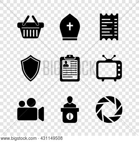 Set Shopping Basket, Pope Hat, Paper Or Financial Check, Movie Video Camera, Information Desk And Ca