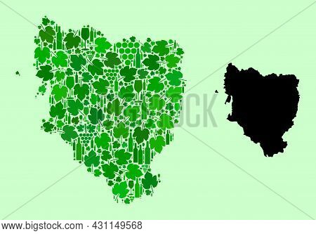 Vector Map Of Hueska Province. Mosaic Of Green Grape Leaves, Wine Bottles. Map Of Hueska Province Mo