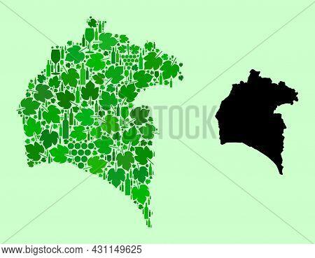 Vector Map Of Huelva Province. Mosaic Of Green Grapes, Wine Bottles. Map Of Huelva Province Collage