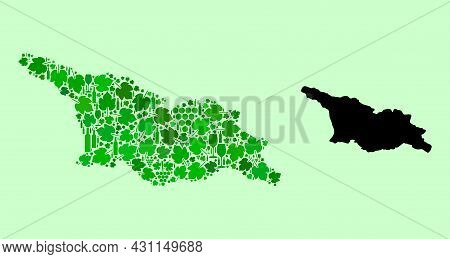 Vector Map Of Georgia. Collage Of Green Grape Leaves, Wine Bottles. Map Of Georgia Collage Composed