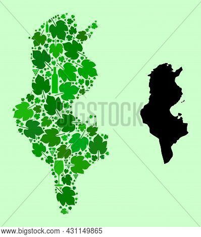 Vector Map Of Tunisia. Mosaic Of Green Grape Leaves, Wine Bottles. Map Of Tunisia Mosaic Composed Fr