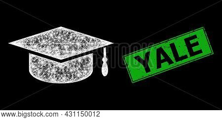 Glowing Net Mesh Graduation Cap Frame With Glowing Spots, And Green Rectangular Rubber Yale Seal Pri