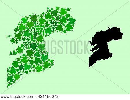 Vector Map Of Pontevedra Province. Mosaic Of Green Grape Leaves, Wine Bottles. Map Of Pontevedra Pro