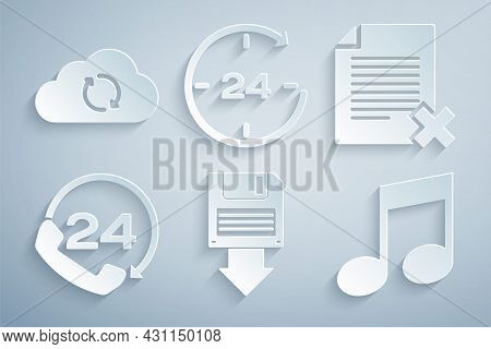 Set Floppy Disk Backup, Delete File Document, Telephone 24 Hours Support, Music Note, Tone, Clock An