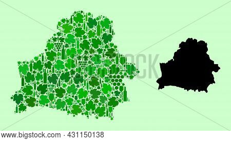 Vector Map Of Belarus. Composition Of Green Grapes, Wine Bottles. Map Of Belarus Collage Formed With