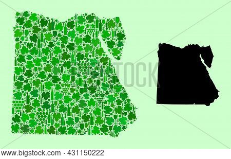 Vector Map Of Egypt. Mosaic Of Green Grape Leaves, Wine Bottles. Map Of Egypt Mosaic Formed From Bot