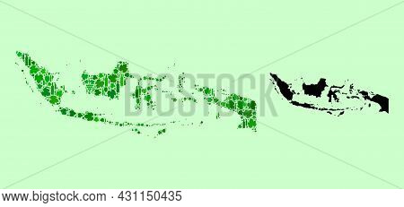 Vector Map Of Indonesia. Mosaic Of Green Grapes, Wine Bottles. Map Of Indonesia Mosaic Designed From