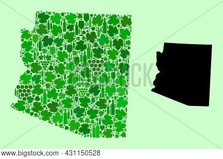 Vector Map Of Arizona State. Collage Of Green Grapes, Wine Bottles. Map Of Arizona State Collage Des
