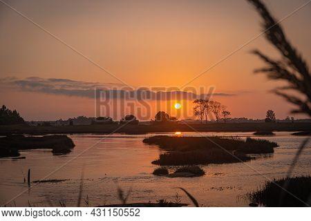 View Of Sunset On Ria De Aveiro, Ovar, Portugal