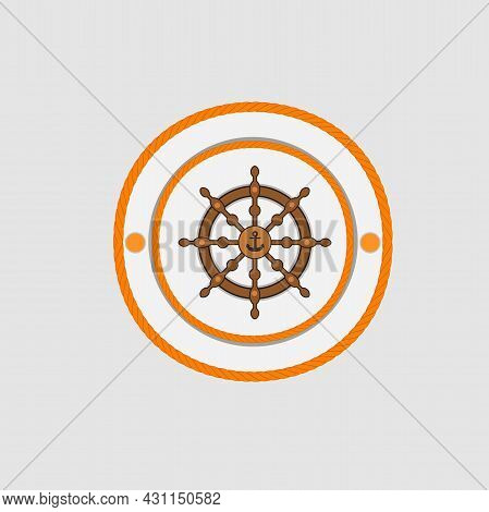 Happy Columbus Day America With Columbus Ship Wheel And Anchor On Rope, Celebration Holiday Poster,