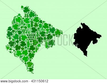 Vector Map Of Montenegro. Collage Of Green Grape Leaves, Wine Bottles. Map Of Montenegro Collage Des