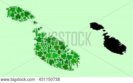 Vector Map Of Malta. Collage Of Green Grape Leaves, Wine Bottles. Map Of Malta Mosaic Composed With
