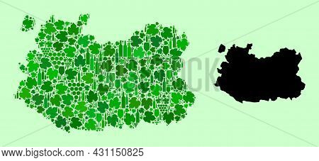 Vector Map Of Ciudad Real Province. Mosaic Of Green Grape Leaves, Wine Bottles. Map Of Ciudad Real P