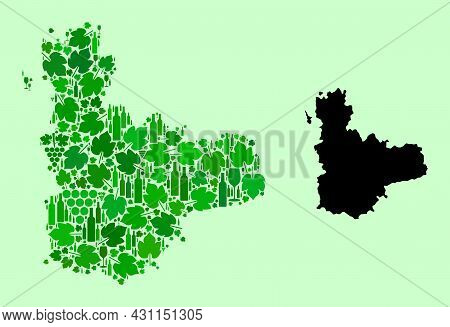 Vector Map Of Valladolid Province. Composition Of Green Grapes, Wine Bottles. Map Of Valladolid Prov