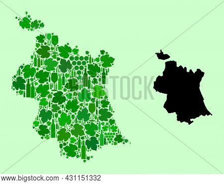 Vector Map Of Valencia Province. Collage Of Green Grapes, Wine Bottles. Map Of Valencia Province Col