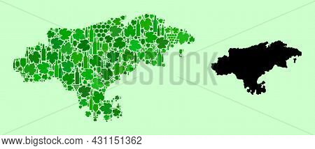 Vector Map Of Cantabria Province. Mosaic Of Green Grapes, Wine Bottles. Map Of Cantabria Province Mo