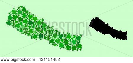 Vector Map Of Nepal. Mosaic Of Green Grape Leaves, Wine Bottles. Map Of Nepal Mosaic Created With Bo
