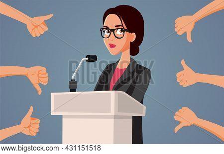 Female Spokesperson Receiving Mixed Reaction To Her Speech Vector Illustration