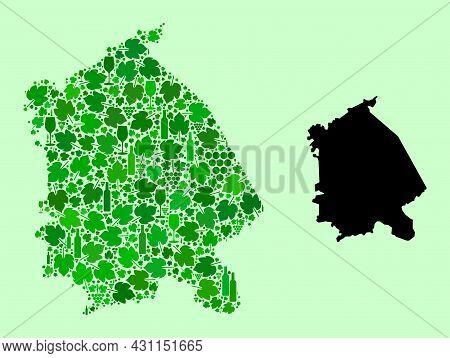 Vector Map Of Pavlodar Region. Collage Of Green Grapes, Wine Bottles. Map Of Pavlodar Region Collage