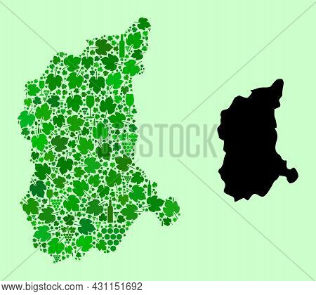 Vector Map Of Lubusz Province. Collage Of Green Grapes, Wine Bottles. Map Of Lubusz Province Collage