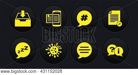 Set Speech Bubble With Snoring, File Document Service, Bacteria, Chat, Hashtag Speech, Smartphone An