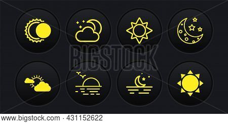 Set Sun And Cloud Weather, Moon Stars, Sunset, Cloud With Moon, And Eclipse Of Sun Icon. Vector