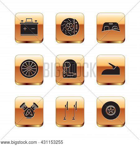 Set Car Battery, Engine, Windscreen Wiper, Gear Shifter, Wheel, Windscreen, Brake Disk And With Cali