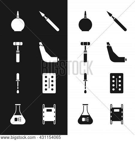 Set Inhaler, Neurology Reflex Hammer, Enema, Medical Surgery Scalpel, Pipette, Pills In Blister Pack