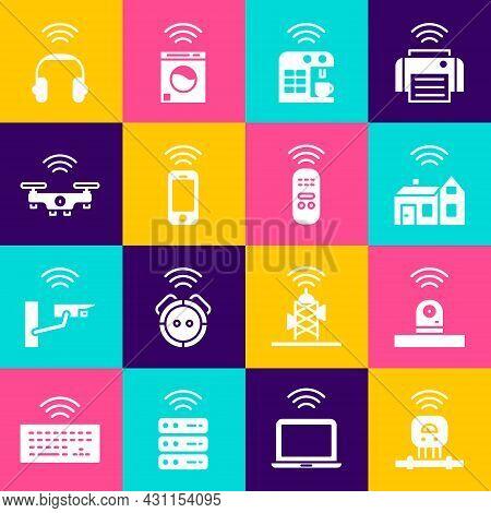 Set Smart Sensor, Security Camera, Home With Wireless, Coffee Machine, Wireless Smartphone, Drone, H