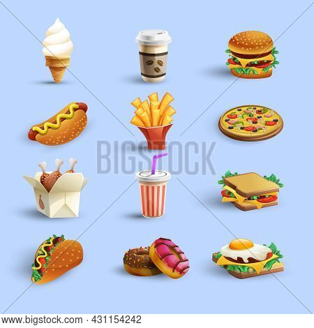 Fast Food Restaurant Menu Icons Collection With Donut Hotdog Coffee And Cheeseburger Abstract Color
