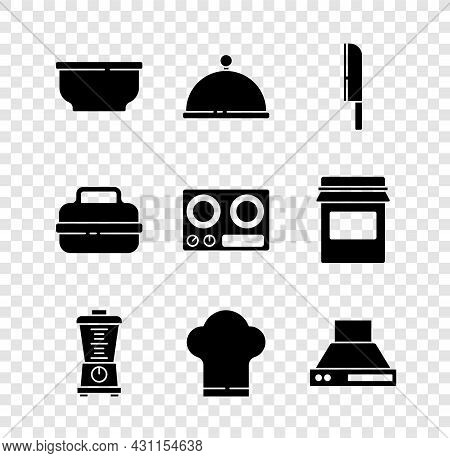 Set Bowl, Covered With Tray, Knife, Blender, Chef Hat, Kitchen Extractor Fan, Cooking Pot And Gas St