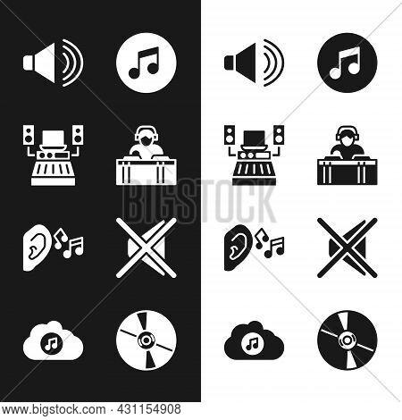Set Dj Playing Music, Music Recording Studio, Speaker Volume, Note, Tone, Ear Listen Sound Signal, M