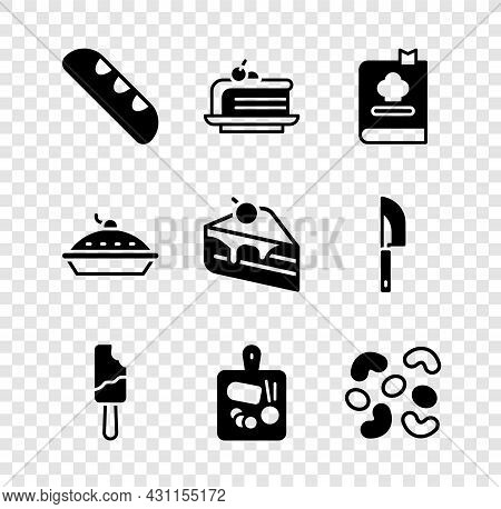 Set French Baguette Bread, Piece Of Cake, Cookbook, Ice Cream, Cutting Board, Jelly Candy, Homemade